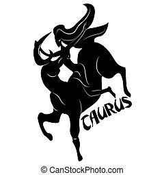 Taurus - Elegant zodiac signs silhouettes isolated on white...