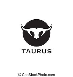 Taurus head logo design template