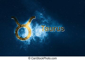 Taurus Horoscope Sign. Abstract night sky background
