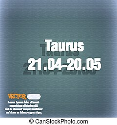 Taurus icon. On the blue-green abstract background with shadow and space for your text. Vector