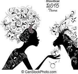 taurus., meldingsbord, chêvre, mode, 2015, zodiac, jaar, ...