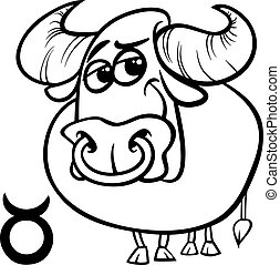 taurus or the bull zodiac sign - Black and White Cartoon...