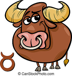 taurus or the bull zodiac sign - Cartoon Illustration of...