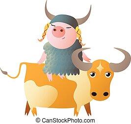 taurus., zodiac, 2019, chinees, year., varken, symbool, horoscoop