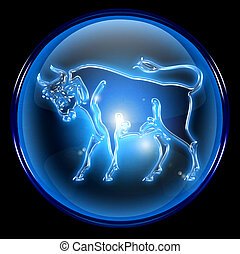Taurus zodiac button icon, isolated on black background