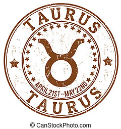 Taurus zodiac grunge stamp - Taurus zodiac astrology grunge...
