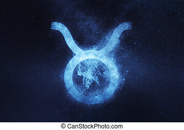 Taurus Zodiac Sign. Abstract night sky background