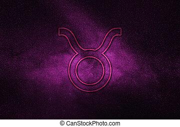 Taurus zodiac sign, night sky,?Horoscope Astrology background,?Taurus horoscope symbol