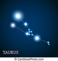 Taurus Zodiac Sign of the Beautiful Bright Stars Vector Illustra