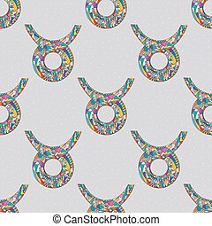 Taurus zodiac sign seamless pattern. Horoscope magic symbol background. Hand drawn astrological colorful vector texture for wallpaper, wrapping, textile design, surface texture, fabric.