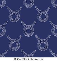 Taurus zodiac sign. Vector hand drawn horoscope pattern. Astrological seamless background.