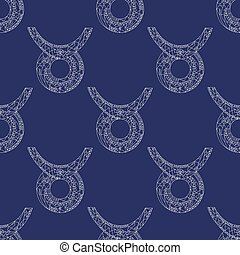 Taurus zodiac sign. Vector hand drawn horoscope pattern. Astrological seamless background.