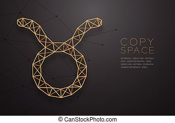 Taurus Zodiac sign wireframe Polygon golden frame structure, Fortune teller concept design illustration isolated on black gradient background with copy space, vector eps 10