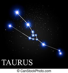 Taurus Zodiac Sign with Beautiful Bright Stars on the Background