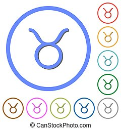 Taurus zodiac symbol icons with shadows and outlines