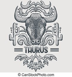 Taurus zodiac vintage vector illustration