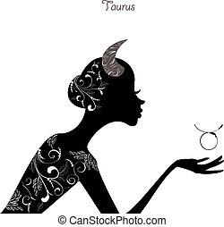 taurus., zodiaco, moda, ragazza, segno