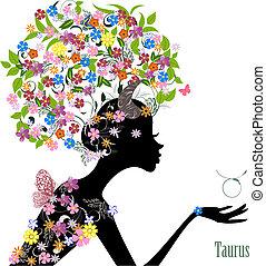 taurus., zodiak, fason, dziewczyna, znak