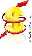 taux, concept, dollar, échange