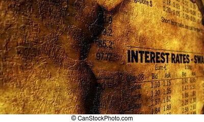 taux, concept, grunge, intérêt