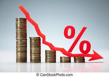 taux d'intérêt, concept, diminution
