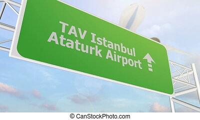 TAV Istanbul airport road sign - TAV Istanbul airport sign...
