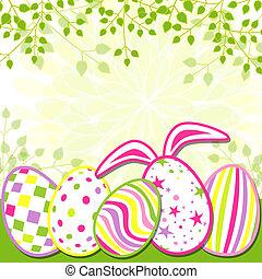 tavasz, húsvét, ünnep, köszönés kártya