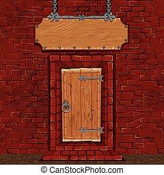taverna, o, negozio, facciata, porta, cancello, con, cartello