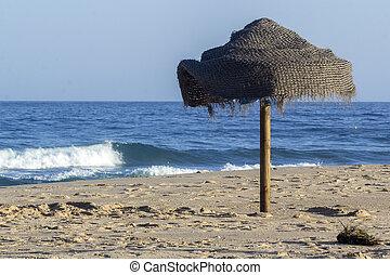 tavira, isla, océano, arena, atlántico, algarve., parasol,...