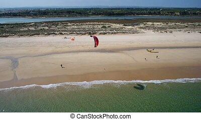 tavira.video, formosa., aerial., droning., mer, kitesurf, îles, air, ria