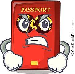 tavola, arrabbiato, rosso, passaporto, mascotte
