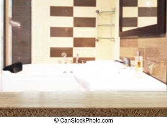 tavola, bagno, legno, cima, sfocato