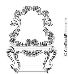 tavola, barocco, Mobilia, abbigliamento