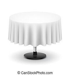 tavola, bianco, cloth., rotondo