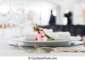 tavola, bianco, matrimonio