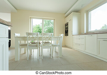 tavola, bianco, moderno, cucina