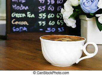 tavola, caffè, legno, tazza