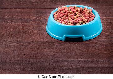 tavola, cane, spazio copia, fondo, grigio, parete legno, cibo, ciotola