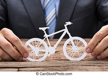 tavola, carta, bicicletta, presa a terra, uomo affari