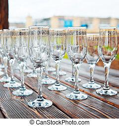 tavola, celebratory, vuoto, occhiali
