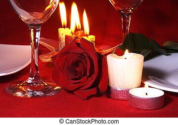 tavola, cena, arragement, romantico