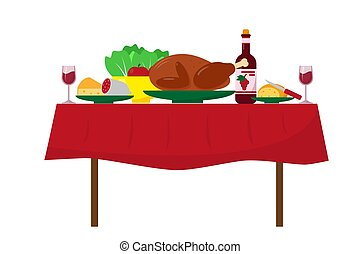 tavola cena, cibo., festivo
