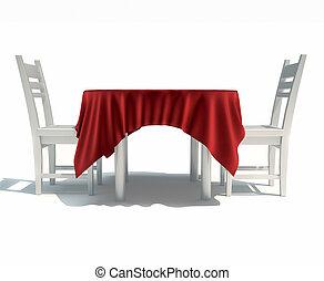 tovaglia render questo illustrazione sedie tavola 3d
