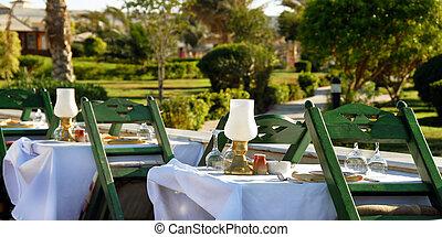 tavola cena, in, ristorante