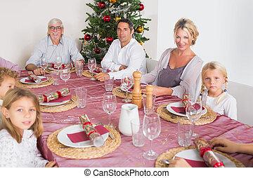 tavola, cena, sorridente, famiglia