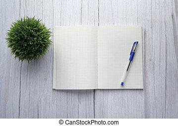 tavola., cima, aperto, vista, penna, blocco note