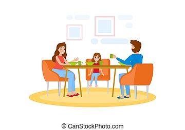 tavola, colazione, detenere, famiglia, cucina