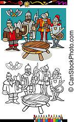 tavola, coloritura, pagina, rotondo, cavalieri