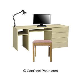 tavola, computer, isolato