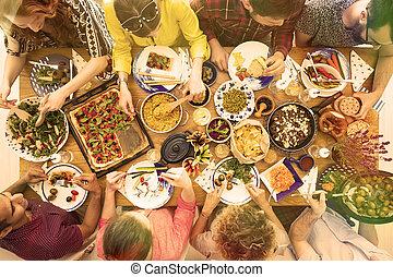 tavola, con, bio, cibo